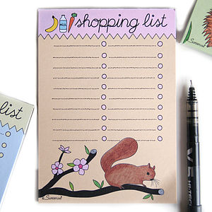 Squirrel Magnetic Shopping List Pad