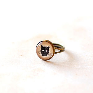 Black Cat Adjustable Ring - rings