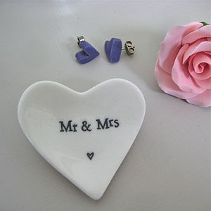 'Mr And Mrs' Tiny Porcelain Heart Dish - ornaments