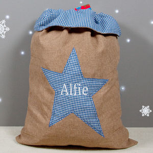 Boy's Hessian Gift Sack - baby's first christmas
