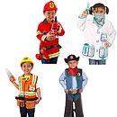Fireman, Doctor, Builder and Cowboy Dressing up