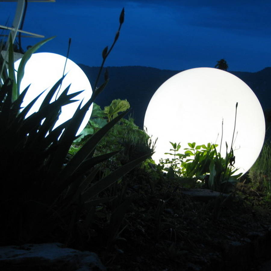Colour changing outdoor ball light 30 and 50cm by jusi colour illuminated balls in the garden aloadofball