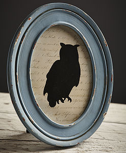 Distressed Blue Oval Frame - picture frames