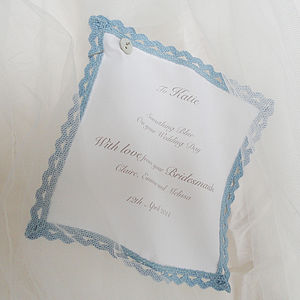 Personalised Something Blue Handkerchief - wedding fashion
