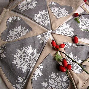 Christmas Linen Bunting - garlands, bunting & hanging decorations