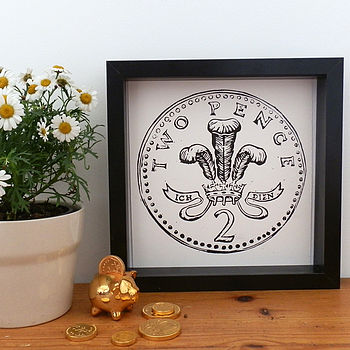 Two Pence Coin Linocut