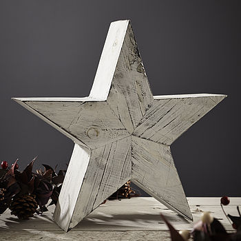 Distressed White Wood Star
