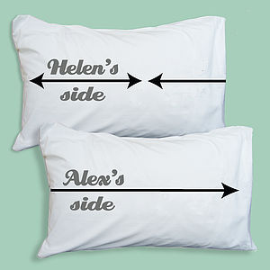 Personalised My Side / Your Side Pillowcases - bedroom