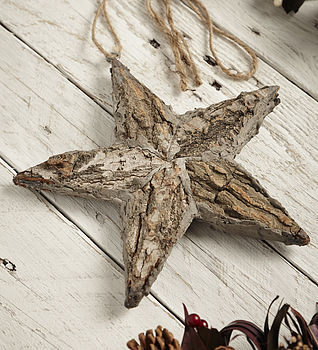 Birch Star With Ribbon