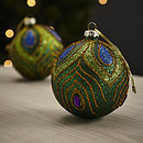 Peacock Glitter Bauble