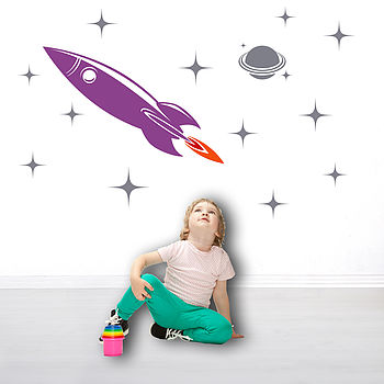 Space Rocket Wall Sticker