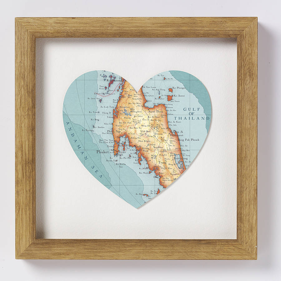 phuket and southern thailand map heart print by us off the peg