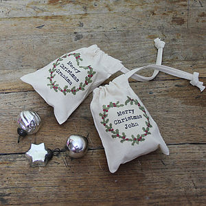 Personalised Christmas Holly Mini Gift Bag - stockings & sacks