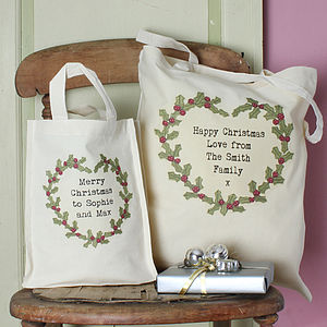Personalised Christmas Holly Gift Bag - stockings & sacks