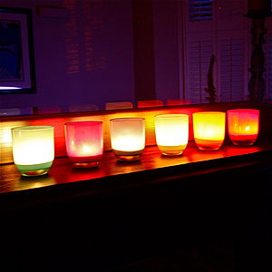 Six Jewel Coloured Glass Tealight Set