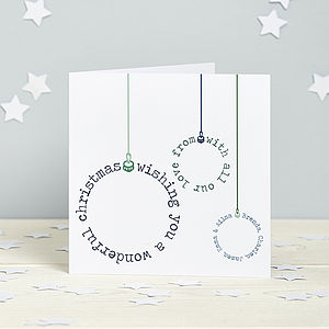 Personalised Typographic Bauble Cards - cards & wrap