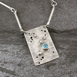 Graffiti Blue Topaz And Silver Necklace - necklaces & pendants