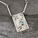 Graffiti Blue Topaz And Silver Necklace