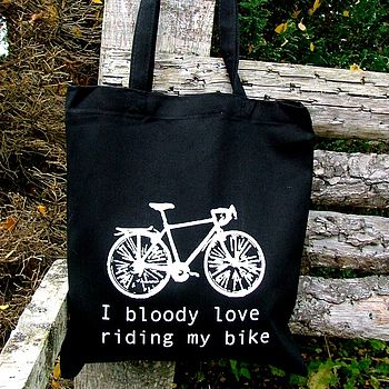 'I Bloody Love My Bike' Black Tote Bag