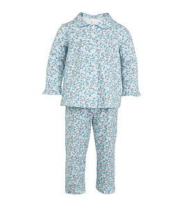 Aqua Floral Print Traditional Pyjamas
