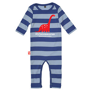 Personalised Dippy Dinosaur Playsuit - clothing