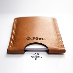Personalised Vegetable Tanned Leather Card Holder
