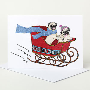 Christmas Pugs Christmas Card - cards & wrap