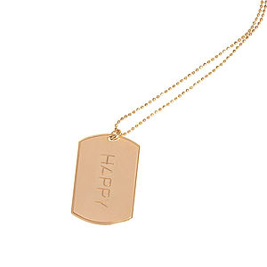 Happy Inspirational Luxury Tag Necklace