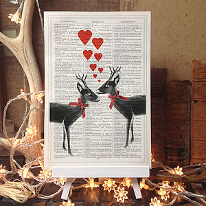 Christmas Antique Page Upcycled Loveheart Deer Print