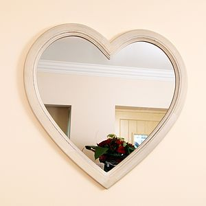 Large Ivory Heart Shaped Wooden Wall Mirror - decorative accessories