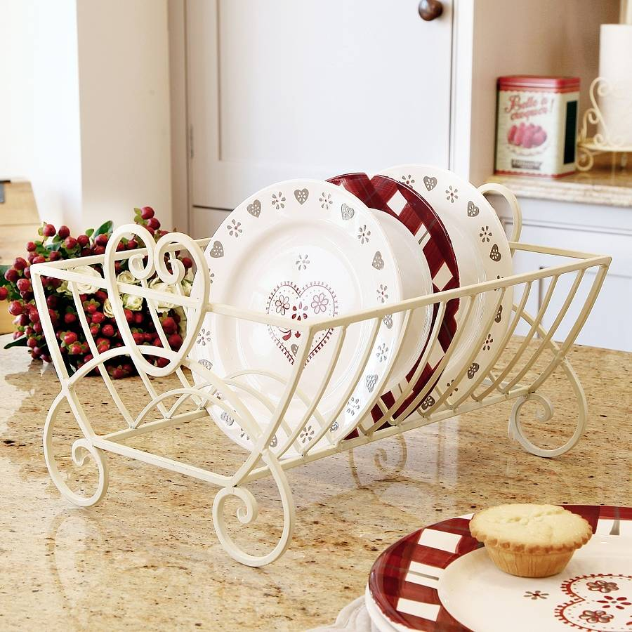 Country Cream Iron Plate Drainer By Dibor