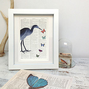 Upcycled Stork Antique Paper Art Print - pictures & prints for children
