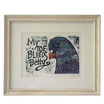 Bird Song Three, Framed Lino Cut