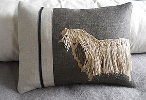 Applique Curly Coated Sheep Cushion