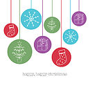 Coloured baubles Christmas card