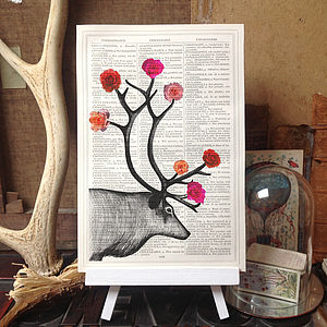 Stag Deer And Roses Antique Dictionary Print