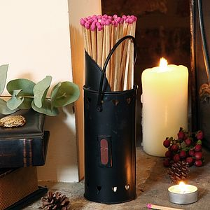 Heart Fireside Matches Holder - fireplace accessories