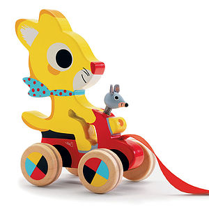 Wooden Pull Along Racing Animals Fox, Rabbit Or Cat - traditional toys & games