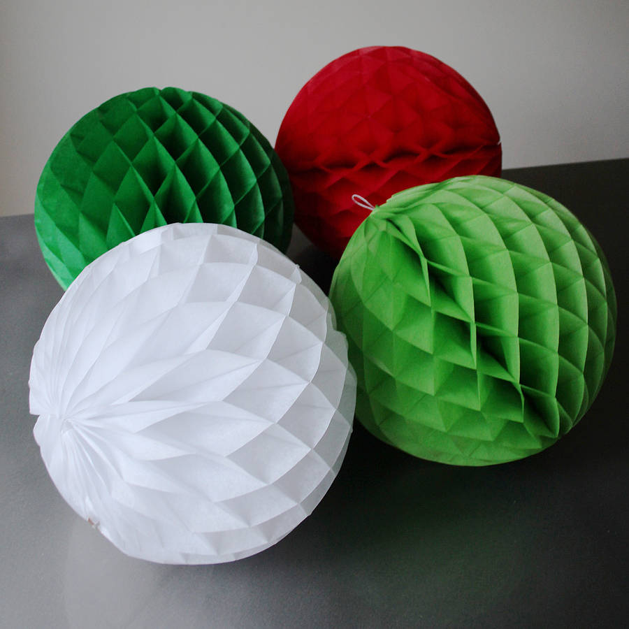 Paper Tissue Fan Christmas Decorations By Pearl And Earl: Four Large Christmas Paper Tissue Balls 30cm By Pearl And