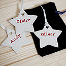 Set Of Three Personalised Hanging Christmas Decorations