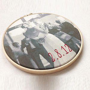 Bespoke Cotton Embroidered Photo Hoop