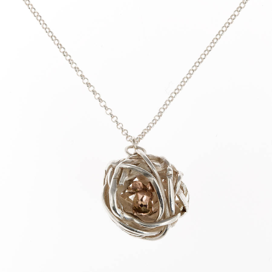 silver and gold fieldmouse nest necklace by by emily