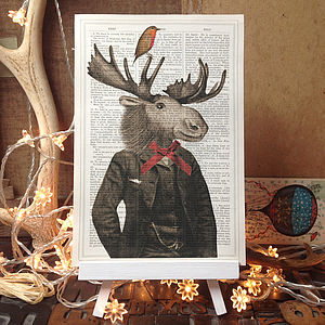 Christmas Gentleman Moose And Robin Dictionary Print