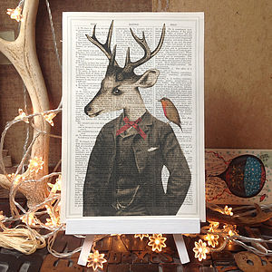 Christmas Gentleman Stag And Robin Dictionary Print