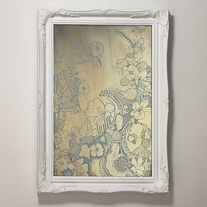 Hand Illustrated Antique Mirror
