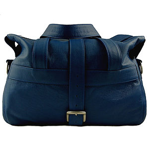 Handcrafted Marine Blue Leather Holdall - holdalls & weekend bags