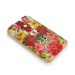 Leather Phone Case Roses - bags & purses