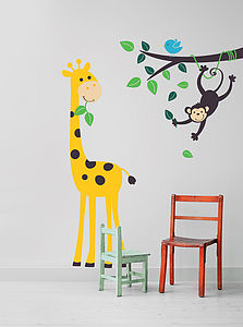 Monkey Branch And Giraffe Wall Stickers - children's room