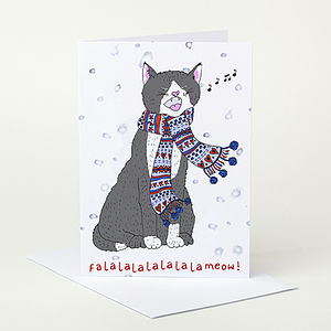 Singing Cat Christmas Card - cards & wrap