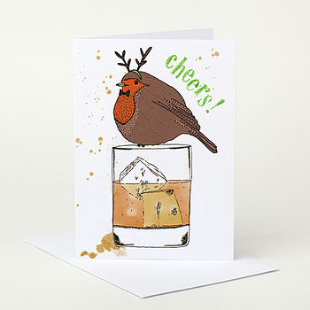 Robin With Whiskey Christmas Card